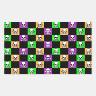 Orange, Purple & Green With Skulls Halloween Rectangular Stickers