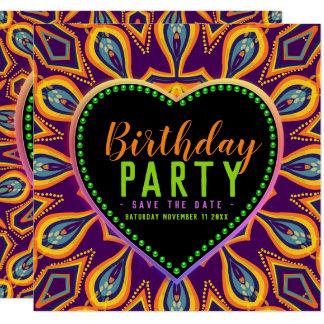 Orange Purple Hippie Child Bohemian Themed Party Card