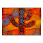 Orange Purple Southwestern Saguaro Cactus Mosaic Card