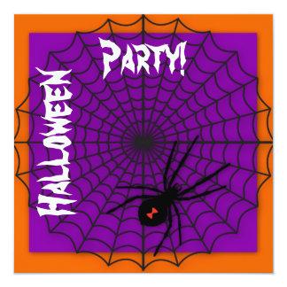 Orange & Purple Spider Web Halloween Invitations