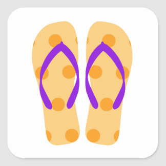 Orange Purple Summer Beach Party Flip Flop Sticker
