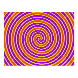 Orange Purple Yellow Dizzy Spiral Postcard