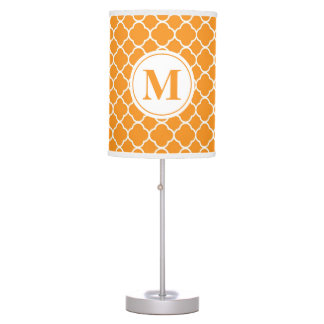 Orange Quatrefoil Modern Monogram Table Lamp