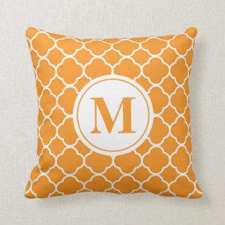Orange Quatrefoil Monogram Letter Throw Pillow