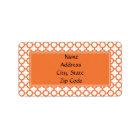 Orange Quatrefoil Pattern Label