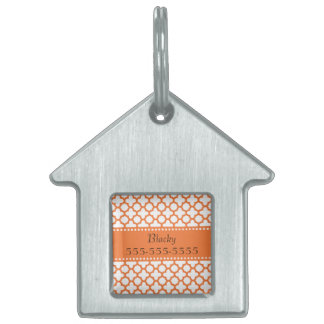 Orange Quatrefoil Pattern Pet Tag