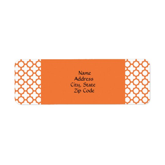 Orange Quatrefoil Pattern Return Address Label