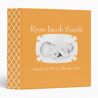 Orange Quatrefoil Photo Ready Baby Book Binder