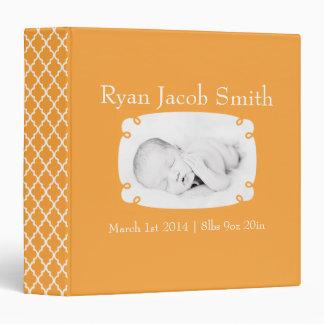 Orange Quatrefoil Photo Ready Baby Book Binder