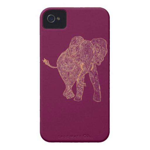 Orange/Raspberry Elephant iPhone 4 Case