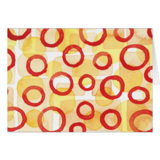 Orange Rectangles with Red Watercolour Circles Card