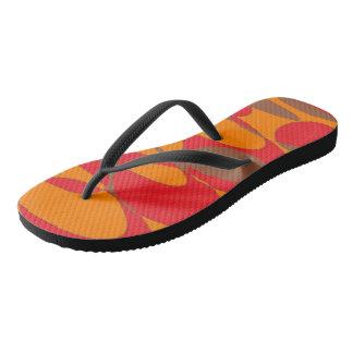 Orange, red and brown flip flops