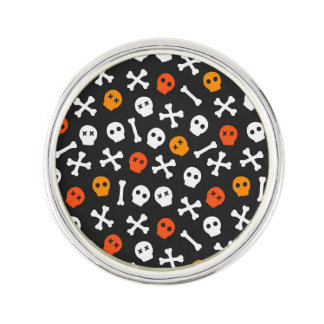 Orange Red and White Cartoon Skulls Lapel Pin