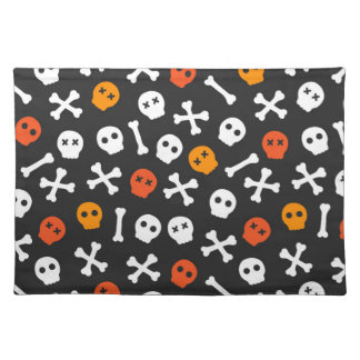 Orange Red and White Cartoon Skulls Placemat
