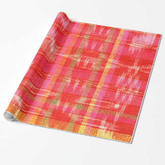 Orange, red and white ikat deisgn wrapping paper