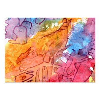 Orange red blue watercolour abstract background invites