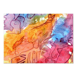 """Orange red blue watercolour abstract background 5"""" x 7"""" invitation card"""