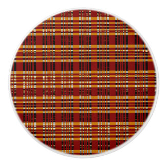 Orange Red Brown Plaid Bedroom Dresser Ceramic Knob