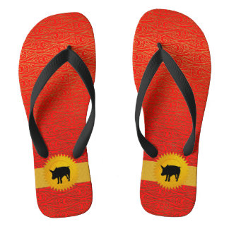 Orange Red Chinese Zodiac Year Of the Pig Flip Flops
