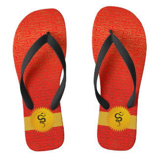 Orange Red Chinese Zodiac Year Of the Snake Flip Flops