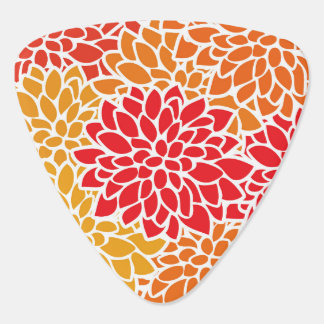 Orange Red Colorful Flower Retro Modern Pick