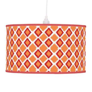 Orange Red Diamond Ikat Pattern Hanging Lamp