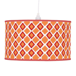 Orange Red Diamond Ikat Pattern Pendant Lamp