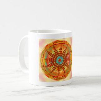 Orange Red Energy Mandala Flower Coffee Mug