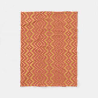 Orange Red Ethnic Egyptian Tribal Basket Weave Fleece Blanket