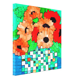 Orange Red Flowers Pixel Art Wrapped Canvas