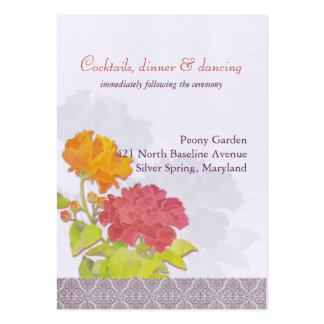 Orange + Red Flowers Wedding Reception (3.5x2.5) Business Card Templates