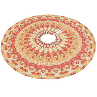 Orange Red Golden Yellow Mandala Star Pattern Fleece Tree Skirt
