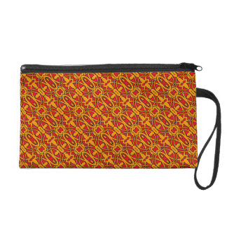 Orange & Red Hand Drawn Pattern Wristlet