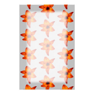 Orange - Red Lily Flowers on Gray. Customized Stationery