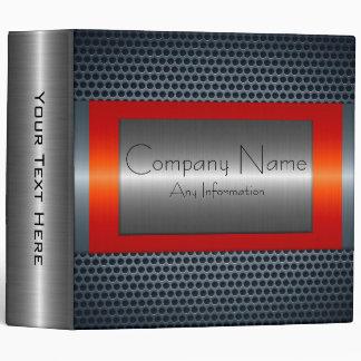 Orange Red Metallic Stainless Steel Look Binder