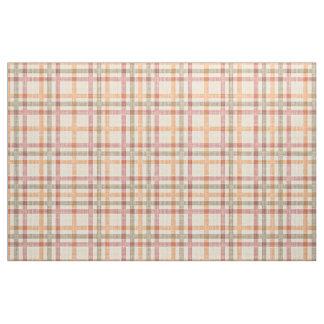 Orange Red Olive Green Tartan Squares Pattern Fabric