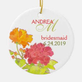 Orange Red Peony Wedding Bridesmaids Gift Ceramic Ornament