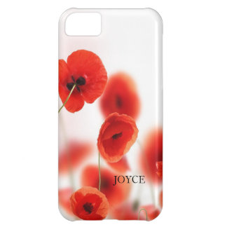 Orange Red Poppy Flowers on White Personalized iPhone 5C Covers