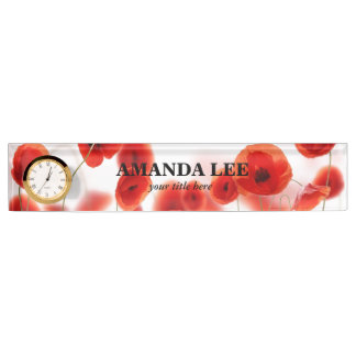 Orange Red Poppy Flowers on White Personalized Name Plate