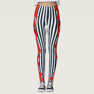 Orange Red Rose Vines on Black White Strips Leggings