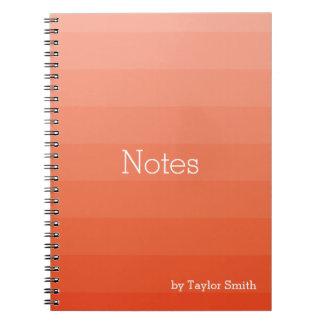 Orange Red Shades Horizontal Stripes Youthful Notebook