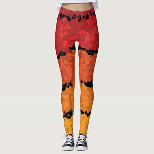 Orange Red Yellow Striped Mosiac Leggings