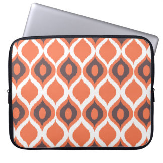 Orange Retro Geometric Ikat Tribal Print Pattern Laptop Sleeve