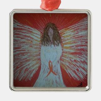 Orange Ribbon Angel.jpg Silver-Colored Square Ornament