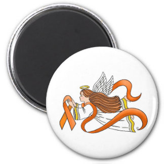 """Orange Ribbon"" Awareness Angel 2 Inch Round Magnet"