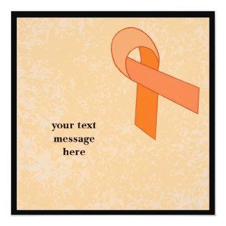 """orange ribbon event 5.25"""" square invitation card"""
