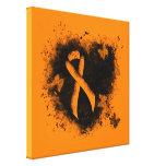 Orange Ribbon Grunge Heart