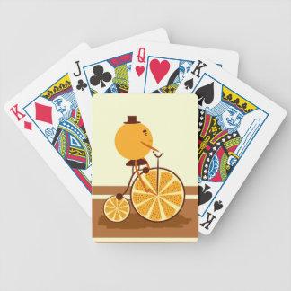 Orange ride bicycle playing cards