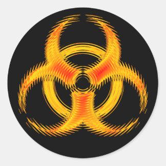 Orange Ripple Biohazard Symbol Sticker
