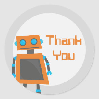 Orange Robot Thank You Stickers
